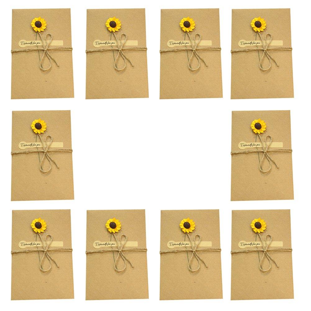 10x chytaii biglietto di auguri in kraft con busta Vergine per compleanno festa matrimonio decorazione di regali con fiore artificiale e spago–Piccolo violet