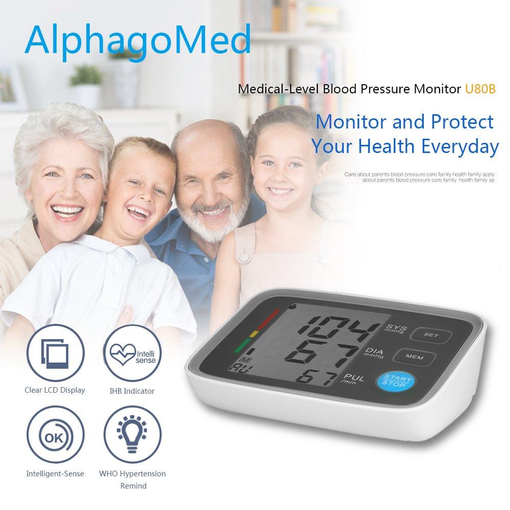 AlphaMed LCD Monitor de presión arterial de brazo superior con esfigmomanómetro digital de brazalete 2 Modo de usuario / 90 Indicador de memoria de datos ...