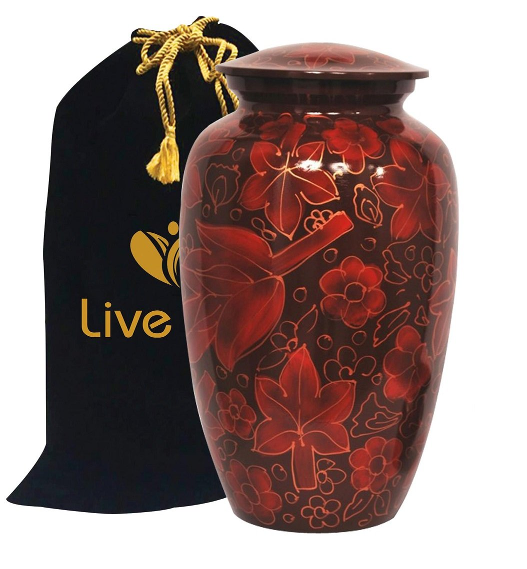 Floral Crimson Cremation Urn for Human Ashes - Adult Funeral Urn Handcrafted - Affordable Urn for Ashes - Large Urn Deal