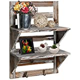 Rustic Wall Mounted Organizer, Distressed Wood, 2-Shelf/Hook Storage Rack from Torchlight (No Assembly Required)