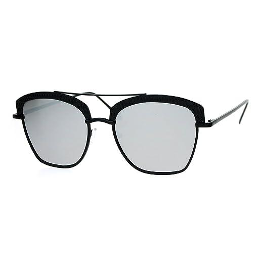 4187828472b SA106 Womens Color Mirrored Lens Half Rim Butterfly Diva Sunglasses Black  Silver