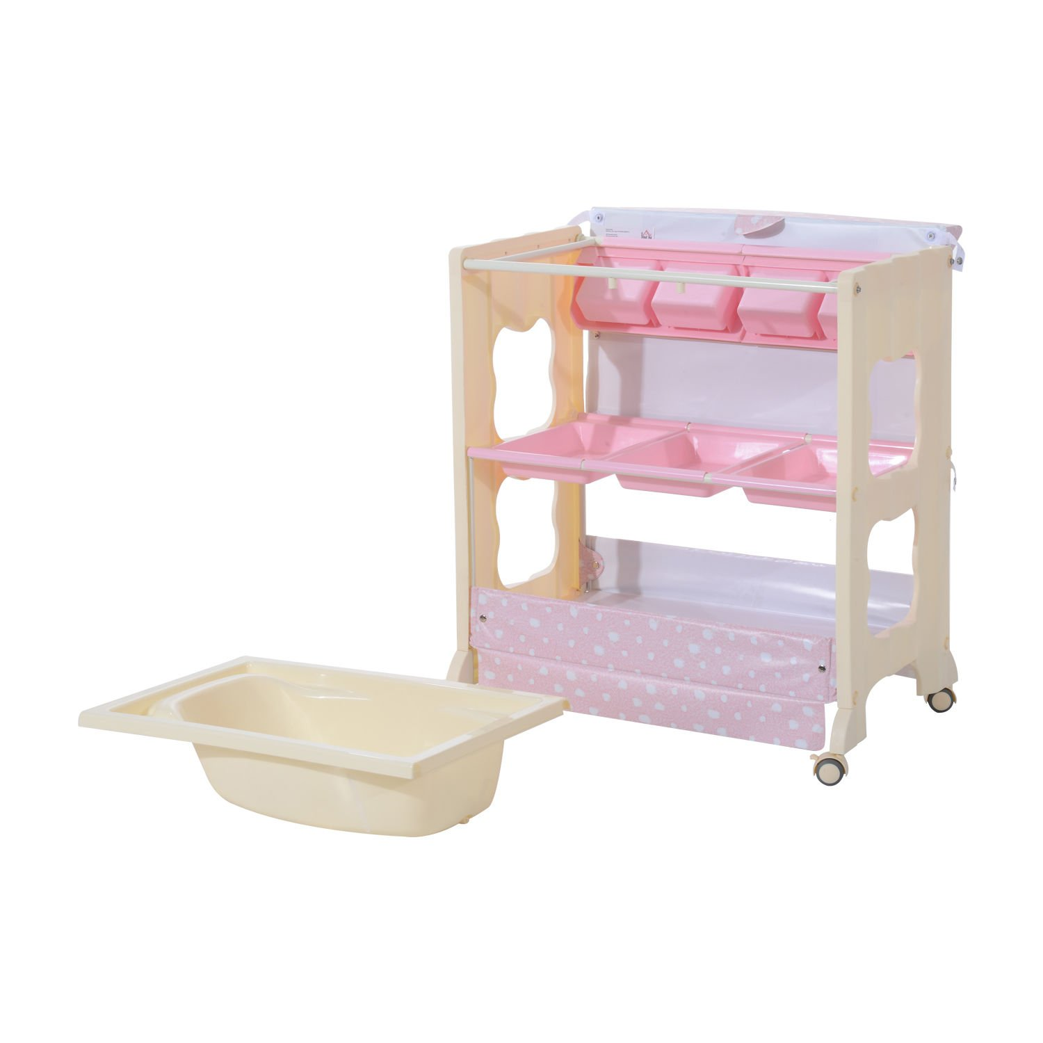 HOMCOM Baby Changing Table Station Portable Changer Baby Storage Bath Tub Unit Dresser w/ Wheels (Pink) Sold By MHSTAR UK400-003PK-NEW0331