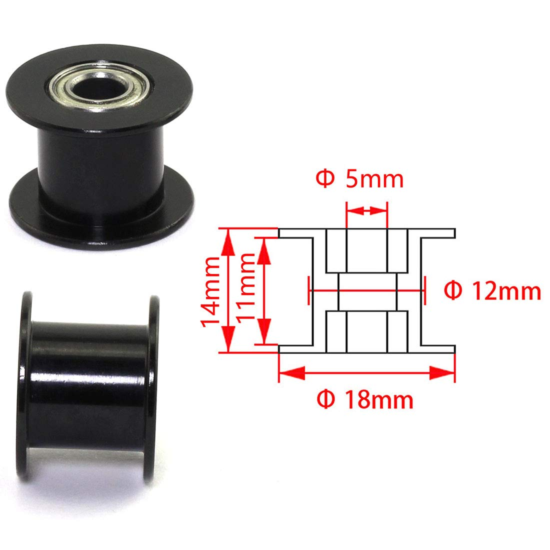 HJ Garden 2pcs 20 Teeth 5mm Bore Idler Timing Pulley with Bearing 2GT Aluminium Alloy H Type GT2 Synchronous Wheel Without Teeth for 10mm Width Belt 3D Printer CNC Mechanical Drive Black