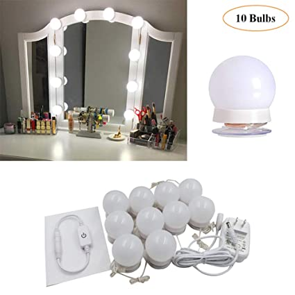 newest 2a41b e9c0c Hollywood Style LED Vanity Makeup Mirror Lights Kit with 10 Dimmable  Bulbs,Lighting Fixture Strip for Makeup Vanity Table Set in Dressing  Room(Mirror ...