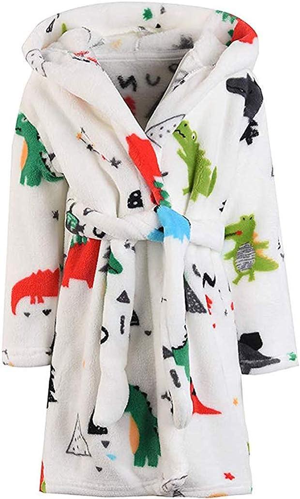 Boys /& Girls Bathrobes,Toddler Kids Hooded Robe,Plush Soft Coral Fleece Bathrobe Robes Pajamas Sleepwear for Girls Boys