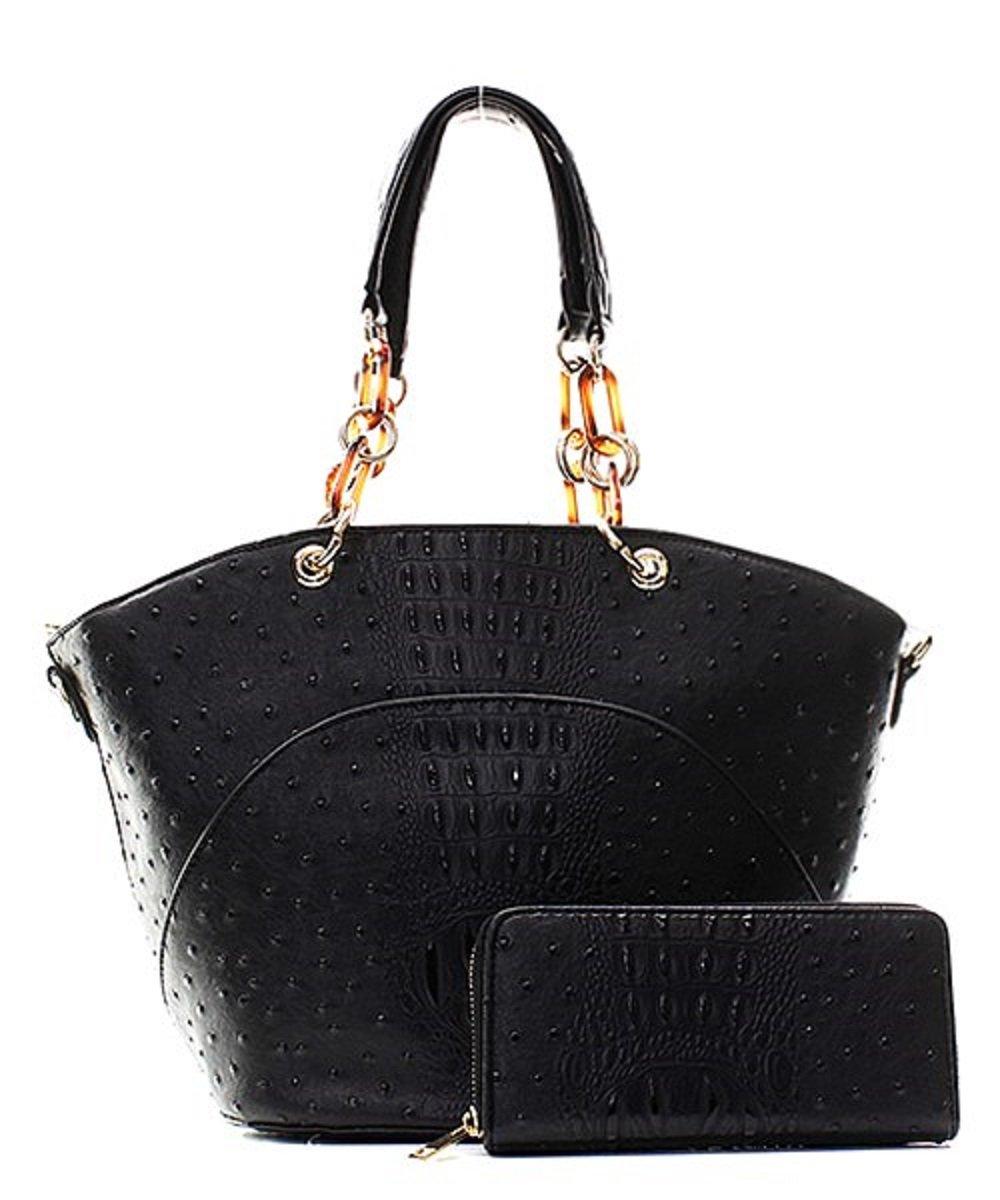 Handbag Inc Ostrich Vegan Leather Hobo Shoulder Handbag and Wallet (Black)