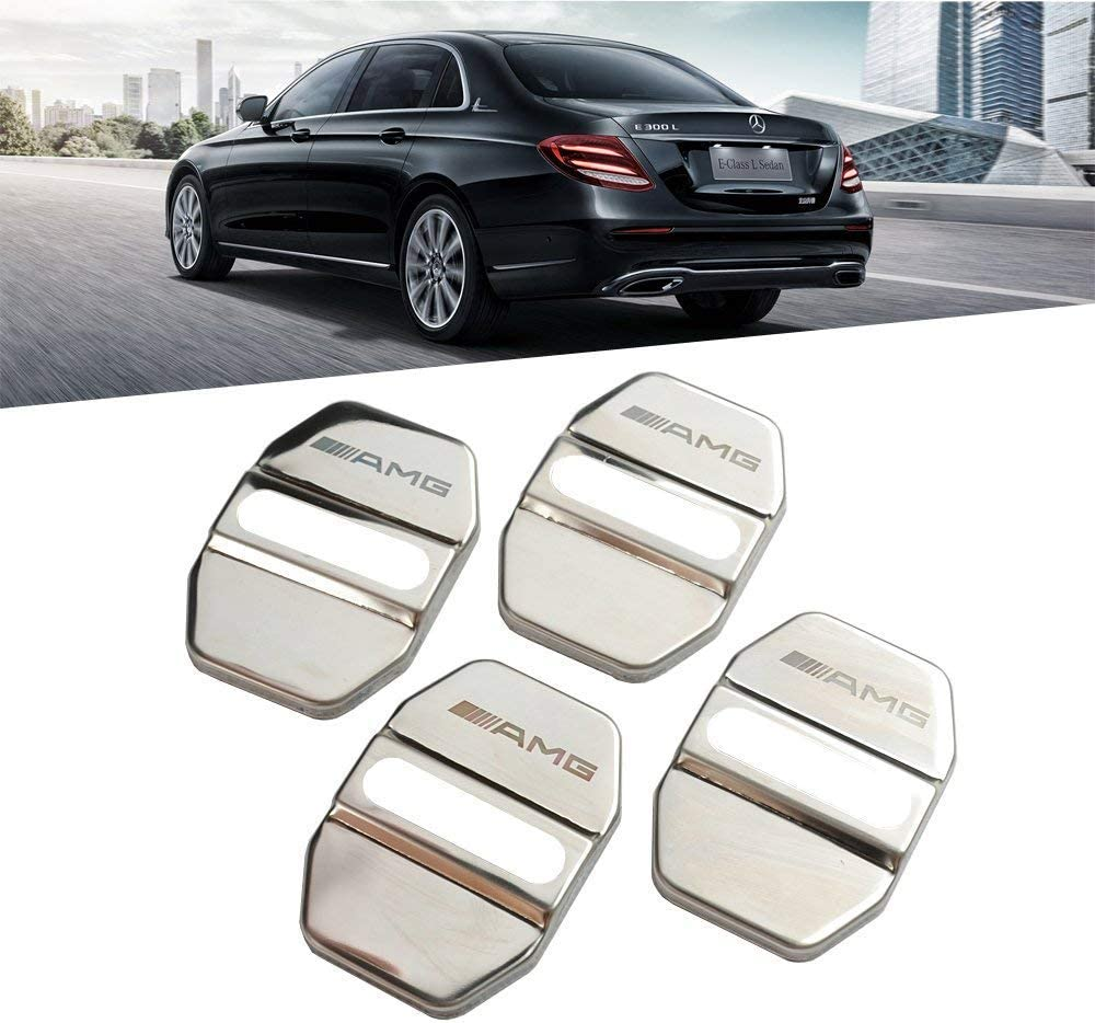 L/&U 4Pcs Door Lock Cover Stainless Steel Door Lock Cover Protector for Mercedes Benz AMG W204 W212 X204 W164 W166 W245,3M Gum,Silver