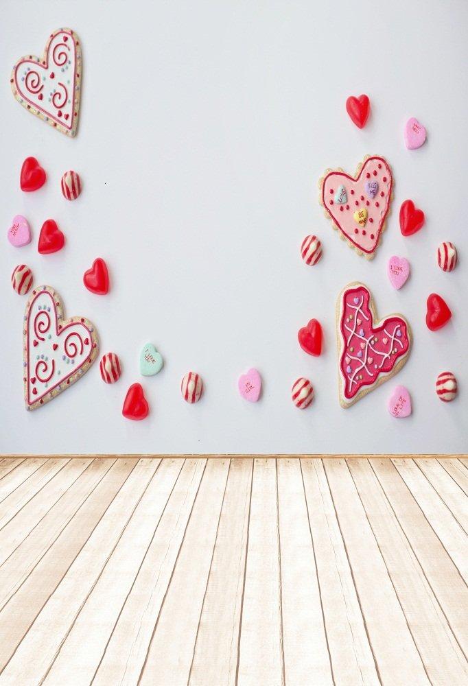 aofoto 4 x 6ft写真バックドロップフォト背景Sweet Heart Shapedパターンキャンディ壁木製床Lover子Kid Baby Girl Portraitビニール壁紙ArtisticシーンProps for Video Studio   B078WWHRDG