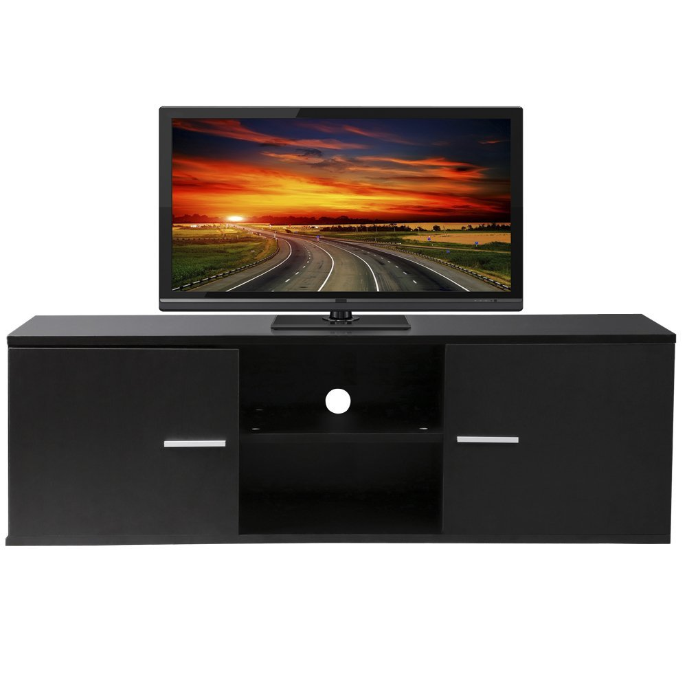 tinkertonk Eco-friendly MDF TV Cabinet LCD Unit Stand,Black With 2 ...