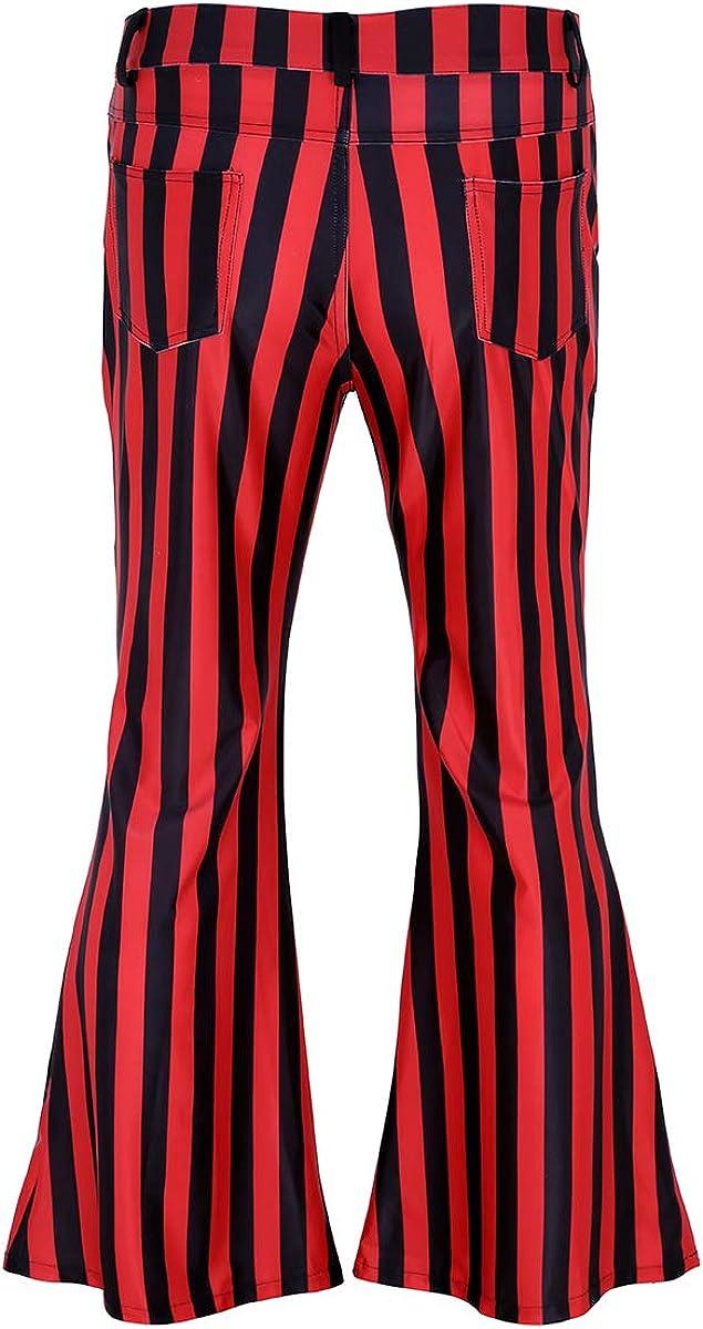 Alvivi Herren Leggings Hosen 70er Jahre Retro Schlaghose Streifen Herrenhose Disco Latein Tanz Party Clubwear M-XXL