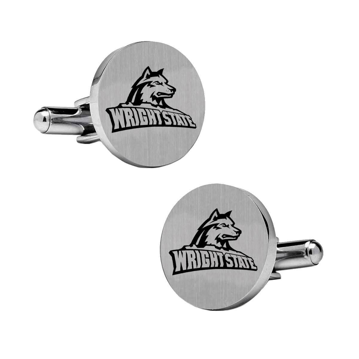Top is Approximately The Size of a Dime. Collegiate Cufflinks Wright State University Raiders Cufflinks Stainless Steel 18mm Round with Bullet Back and Brushed Surface