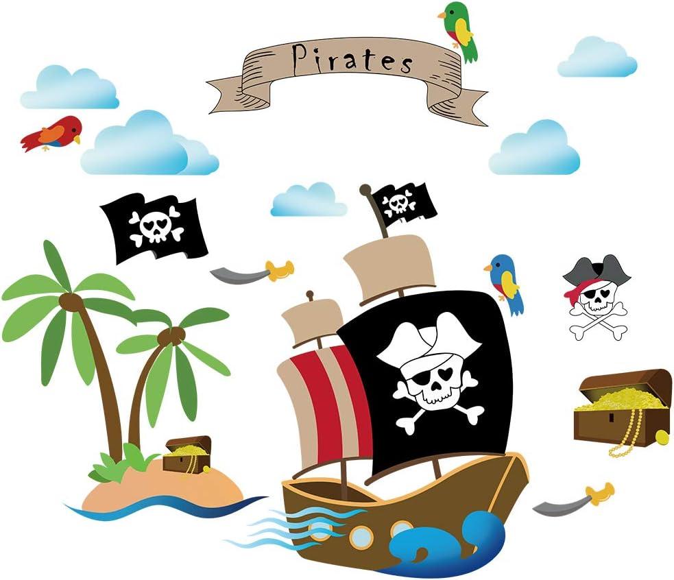 decalmile Barco Pirata Pegatinas de Pared Habitación Infantiles Adhesivos Pared Dormitorio Salón Guardería Niños Bebés Mural Pared Tema Pirata Decoración: Amazon.es: Hogar