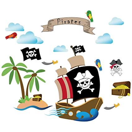 Swell Decalmile Pirate Ship Wall Decals Kids Room Wall Stickers Children Bedroom Baby Nursery Wall Decor Pirate Theme Room Decoration Download Free Architecture Designs Terchretrmadebymaigaardcom