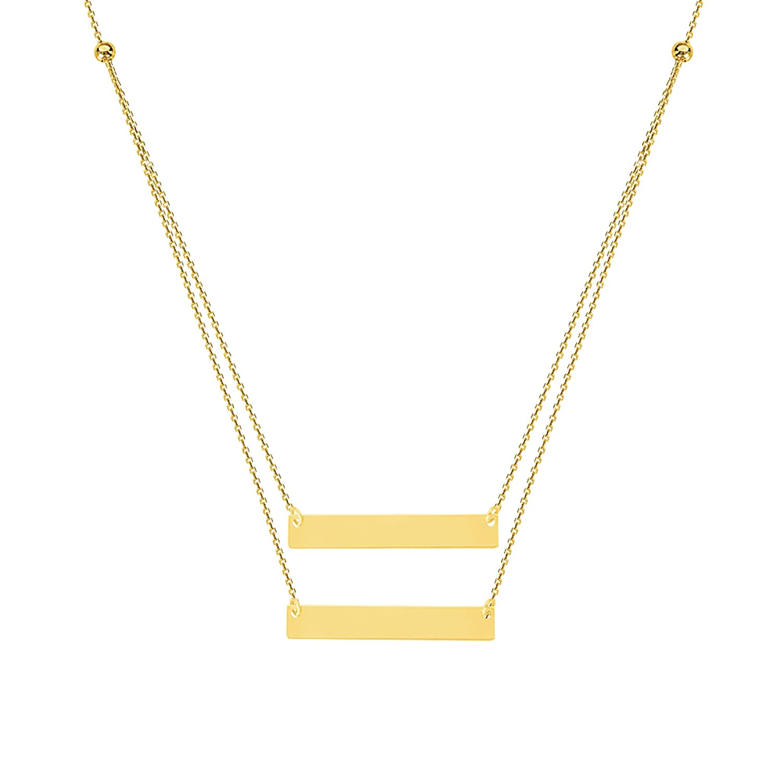 Amazon.com: 14 K Amarillo Oro Doble Bar placa de nombre ...