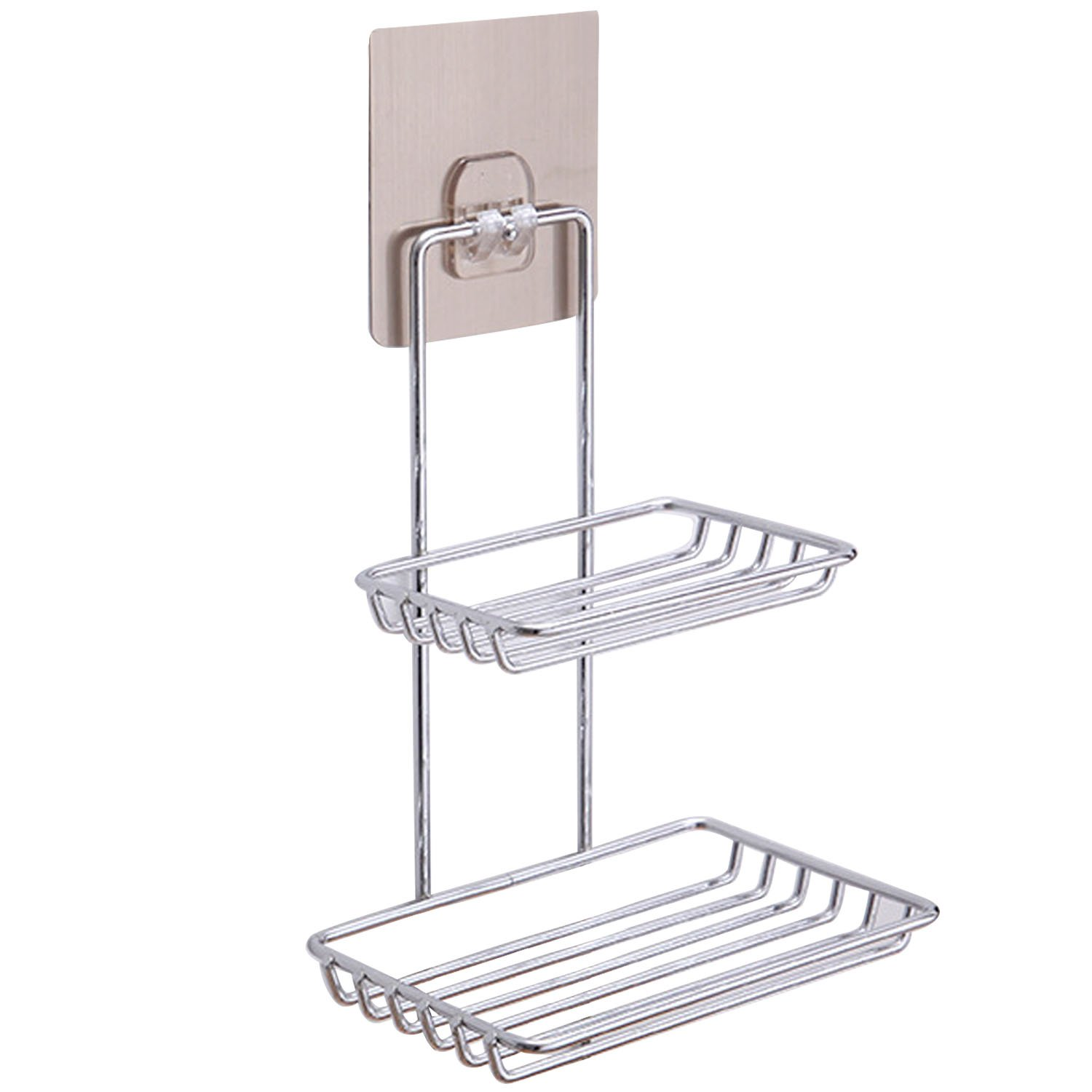 Stainless Steel Wall Mounted Sticky Shower Bathroom Kitchen Rack Shelf Holder Dual Layer for Soap Bath Towel Cleaning Supplies Kitchen Small Gadgets Gosear