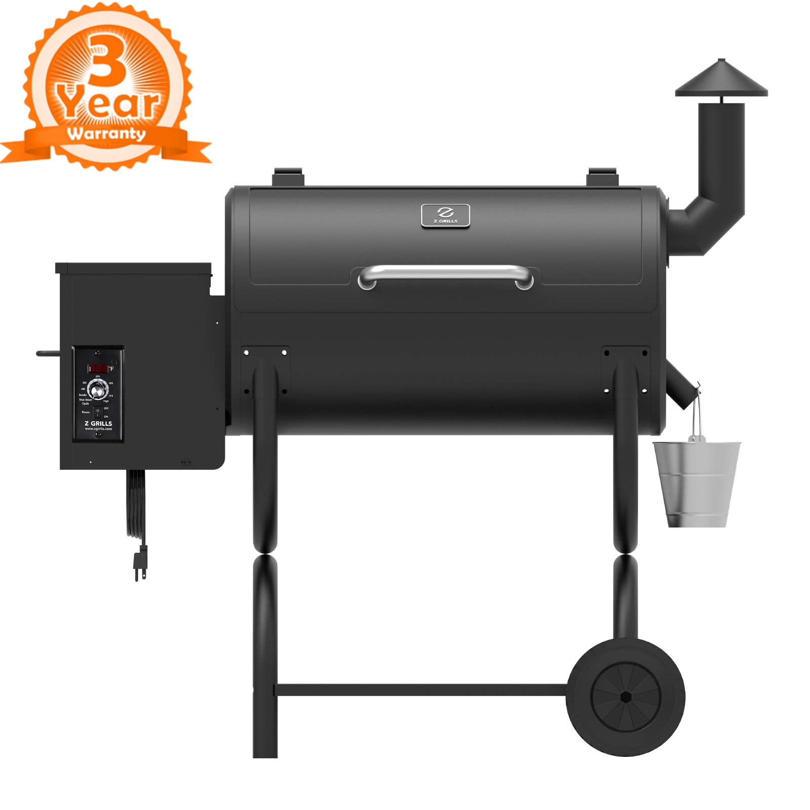 Z GRILLS ZPG-550B 2019 Upgrade Model Wood Pellet Grill & Smoker 6 in 1 BBQ Grill Auto Temperature Control, 550 sq Inch Deal, Black by Z GRILLS
