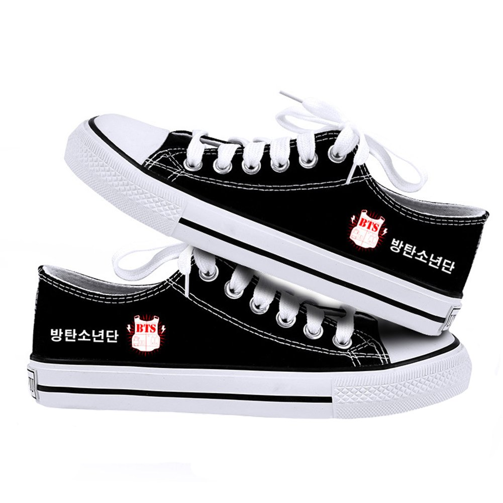 XCOSER BTS Sneakers Casual Canvas Shoes Solid Colors Low Top Lace up Flat 39