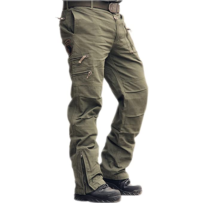 sunsnow Men's Multi Pockets Outdoor Cotton Pants 101 Airborne Cargo Pants