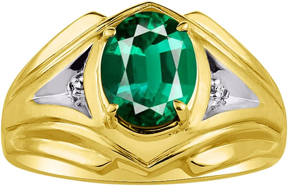 Mens Emerald /& Diamond Ring Sterling Silver or Yellow Gold Plated Band