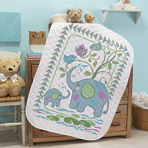 Baby by Herrschners Pre-Quilted Elephant Friends Baby Quilt Stamped Cross-Stitch (Friends Quilt Kit)