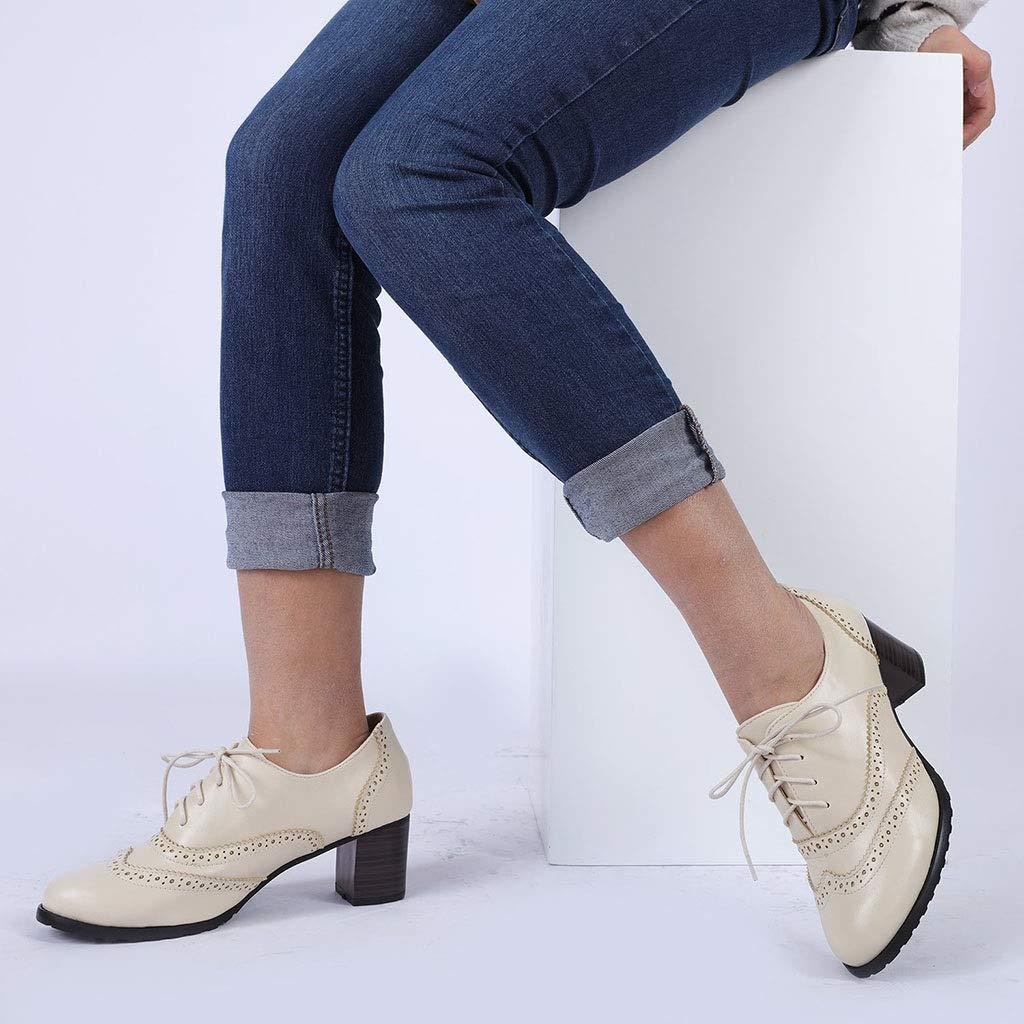 Couleur : Beige, Taille : 34 SUN HUIJIE Femmes Richelieus en Cuir PU Brogue Wingtip /À Lacets Chunky Chaussures /À Talons Hauts Robe Chaussures Oxfords