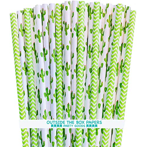 Cactus Themed Paper Straws - Green White Succulents and Lime Chevron - 100 Pack (Lime Paper Green Straws)