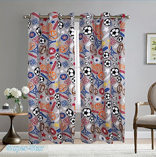 Fancy Linen 2 Panel Curtain Set with Grommet Sports Grey Orange Blue Red Black White Football Soccer Baseball Basket Ball New # Super Star (Curtain Set)