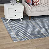 Modway R-1024C-58 Kaja Abstract Plaid 5x8 Area Rug, Twin, Ivory/Cadet Blue and Citron