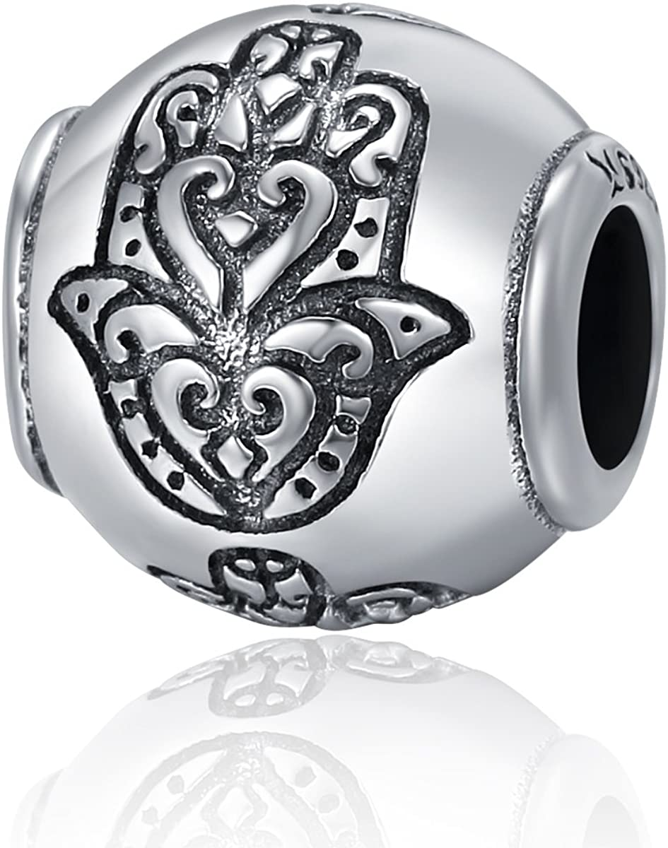 Soulove Fatima Hand Faith Power Bead 925 Sterling Silver Bead For Snake Chain Charm Bracelet
