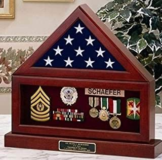 product image for Flag and Pedestal Display Cases, Burial/Funeral Flag Display Case Military Shadow Box with Pedestal Stand, Solid Wood