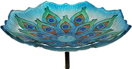 Set of 3 EverGreen Prismatic Flowers Glass Birdbath with Metal Stake