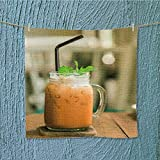 L-QN lightweight towelmilk thai tea in glass mugs on wood table High Absorbency W19.7 x W19.7