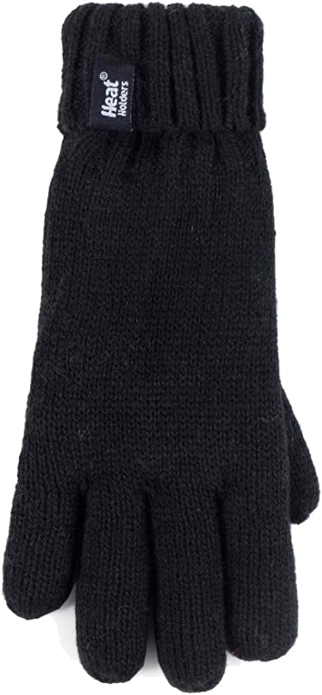 Children Boys Winter Warm Fleece Lined Insulated Knit Turn Over Cuff Ribbed Hat and Gloves Set Heat Holders