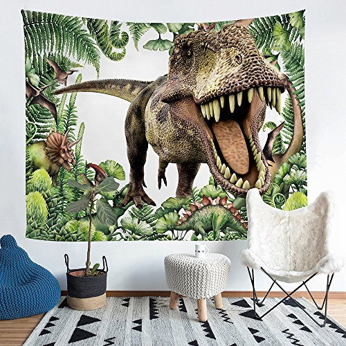 Dinosaur Hangings Wall - Home Furnishing Ferocious Dinosaur Series Tapestry Wall Hanging Sandy Beach Picnic Throw Rug Blanket Camping Tent Tapestry (60X51inch)