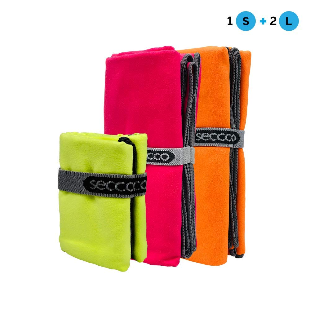 seccco Microfiber Towel Yoga Towels Pack. Easy Pack Towels. Fast Drying Compact Towels. Three Towels, one Small and Two Large. Colors Lime, Orange, Fushia.