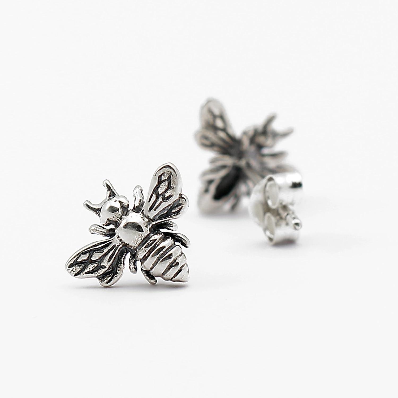 Amazon.com: Little Silver Bee Earrings • Honeybee Studs • Tiny ...