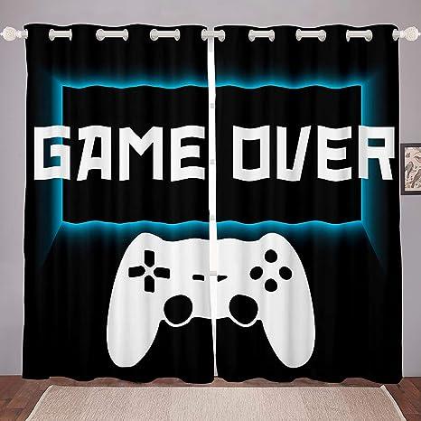 Grey 38x45,2 Panels Erosebridal Teens Gamepad Curtain Modern Gamer Window Curtains for Kids Boys Children Video Game Grommet Curtains Player Gaming Joystick Window Drapes Decorative Room