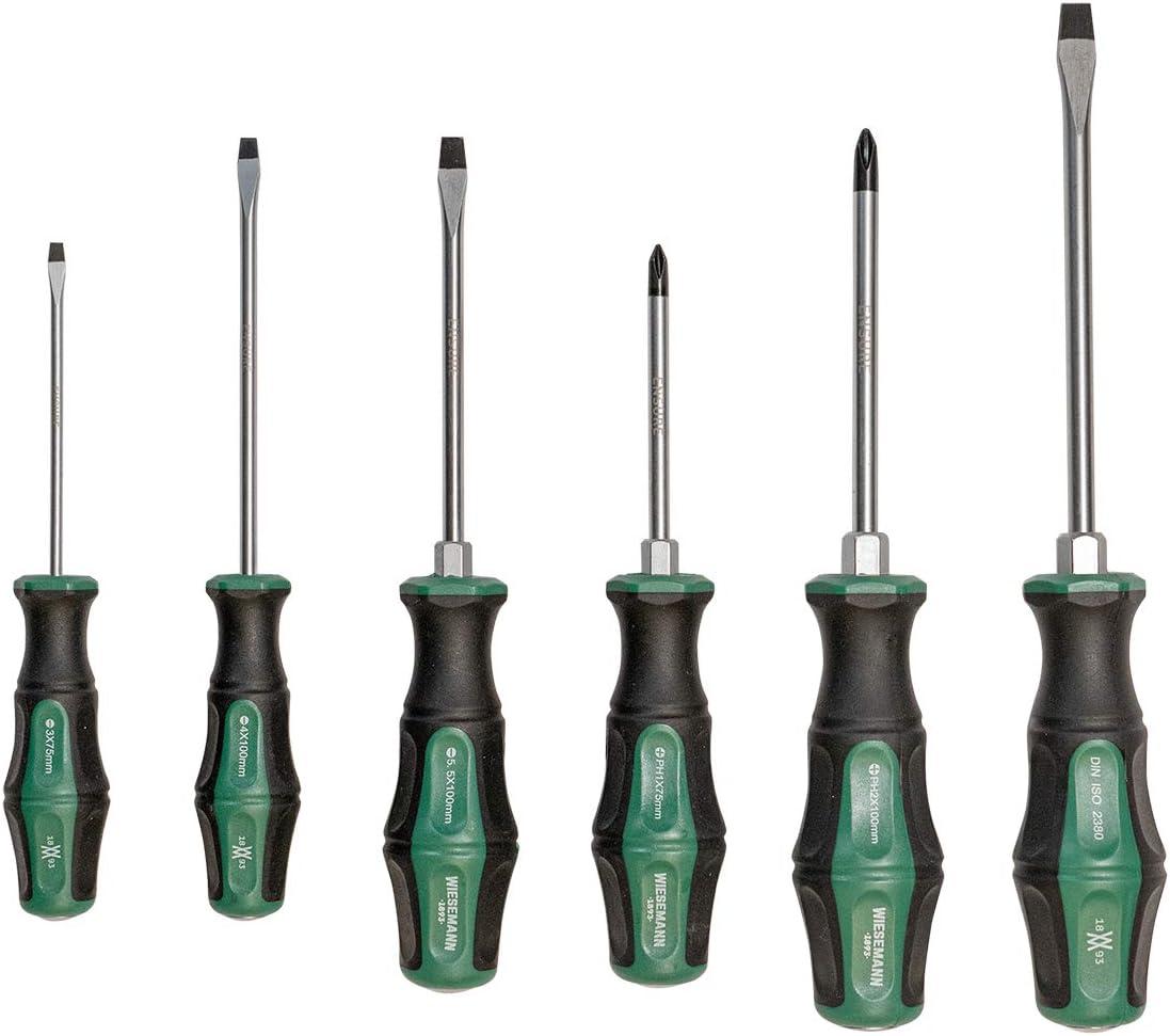 Juego de destornilladores profesionales 6 piezas de acero Q-50 de la serie ENSURE de WIESEMANN 1893 I Destornillador de alta calidad con tapa de cierre y punta magnética I 81161