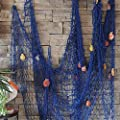 VEIOU Fish Net Decor with Shells, Nautical Mediterranean Style Fishnet Decorations, Ocean Pirat Theme Party Onaments for Christmas Birthday Photo Hanging Display Frame