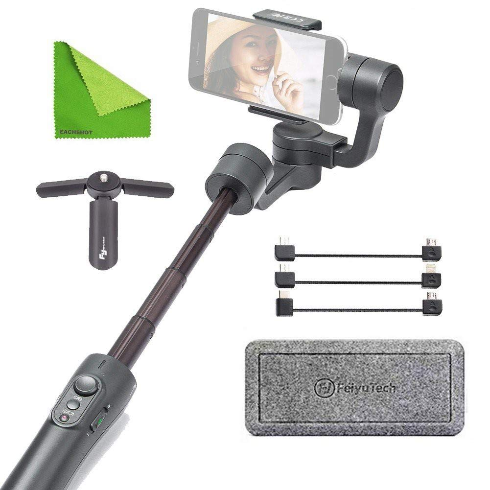 FY FEIYUTECH Feiyu Vimble 2 Stable Selfie Stick Travel Gimbal Handheld Stabilizer Built-In Extender for Smartphone Like iPhone X 8 Plus 7 6 SE Samsung Galaxy S9+ S9 S8+ S8 Note 8 S7 S6 Q2 edge Grey by FY FEIYUTECH