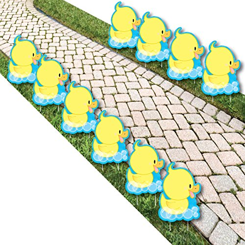 Ducky Duck - Rubber Ducky Lawn Decorations - Outdoor Baby Shower or Birthday Party Yard Decorations - 10 Piece -
