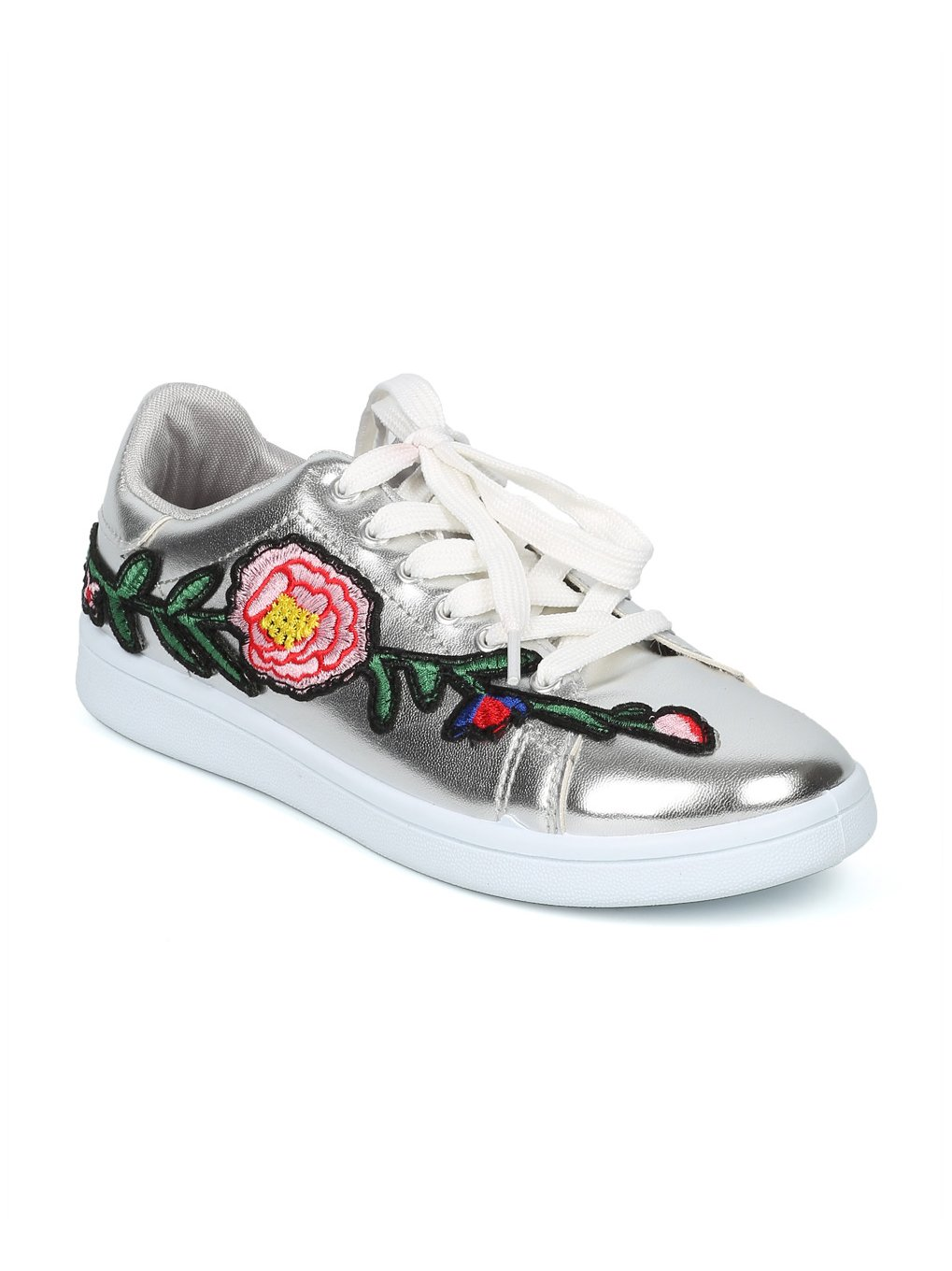 Alrisco Women Lace Up Floral Embroidered Patch Low Top Sneaker HF82 - Silver Metallic (Size: 6.0)