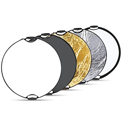 Black Handle Grip and Carrying Case Gold 43 inches//110 Centimeters Round White Silver Neewer 5 in 1 Portable Multi Disc Camera Lighting Reflector Diffuser Kit with Screw Translucent