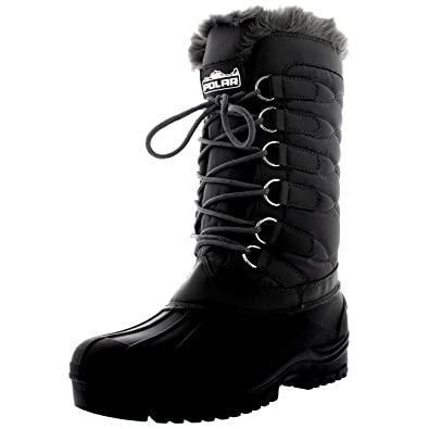 Polar Womens Nylon Cold Weather Outdoor Snow Duck Winter Rain Lace Boot - 6  - GRE37 fe10db620825