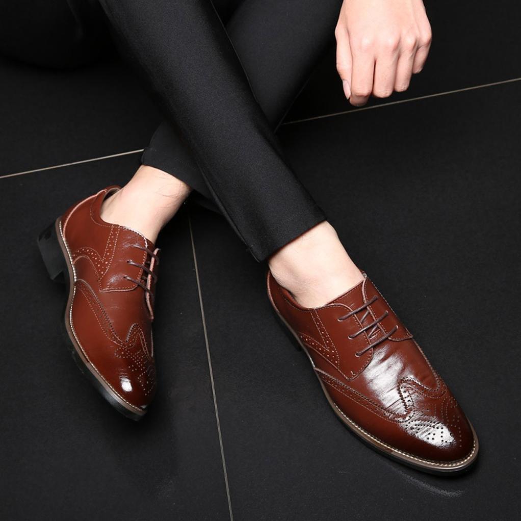 Zapatos a Prueba de Viento Huecos Transpirables para Hombres Zapatos de Cuero Logobeing Zapatos Oxford C/ómodos Casual Estilo Cl/ásico