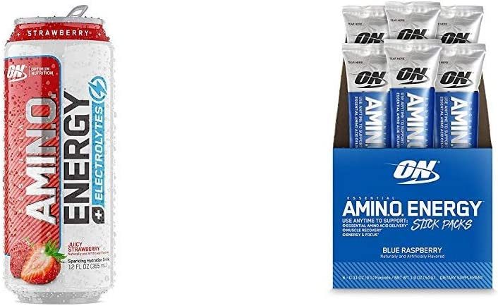Optimum Nutrition Essential Amino Energy On-The-Go Variety Pack: Electrolyes Sparkling Drink (Juicy Strawberry, 12 Cans) & Stick Pack Pre-Workout or Anytime Energy Powders (Blue Raspberry, 6 Ct)