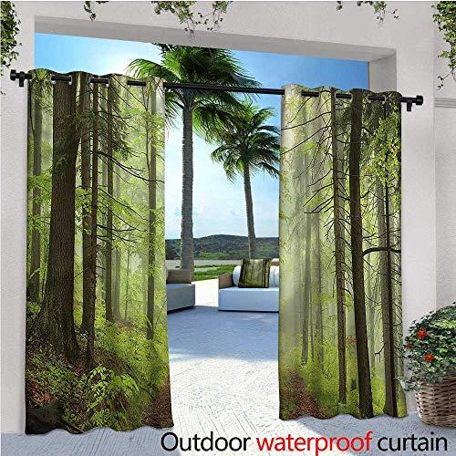 warmfamily Outdoor Patio Curtains Trail Trough Foggy Alders Outdoor Curtain for Patio,Outdoor Patio Curtains W72 x L108