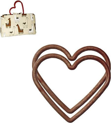 1 Pair 15 x 11cm Large Heart Shape WOOD EFFECT Plastic Bag Purse Handles S7834