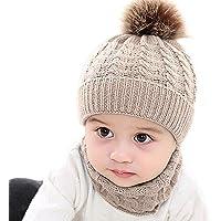 Sombrero Bebé Invierno 2 Piezas Conjunto de Gorra y Bufanda Lana Pañuelo de Punto con Pompones para Niños Unisex (0-3…