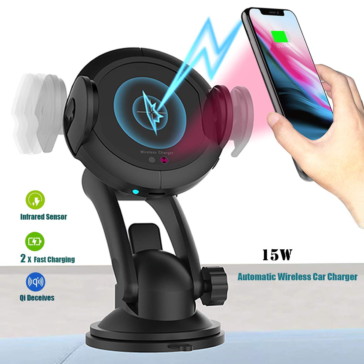 Wireless car Charger Mount-Qi Fast Charging air Vent or Windshield Phone Holder, Compatible with iPhone X/8/8 Plus Samsung Galaxy Note 9/8/S9/S8/S7/S6 Edge, Infrared Motion (Black)